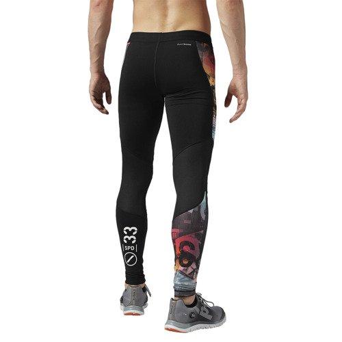 Spodnie Reebok One Series Print męskie getry termoaktywne treningowe