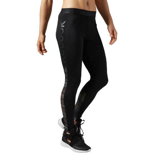 Spodnie Reebok Workout Show Mesh Logo damskie legginsy getry sportowe termoaktywne
